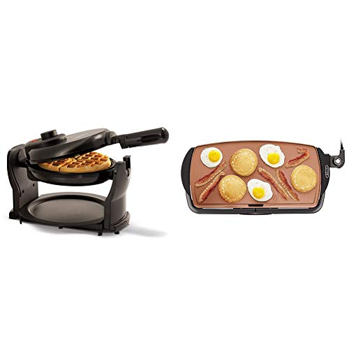 """BELLA Classic Rotating Non-Stick Belgian Waffle Maker, Black & Electric Ceramic Titanium Griddle, Make 10 Eggs At Once, Healthy-Eco Non-stick Coating, 10.5"""" x 20"""", Copper/Black"""