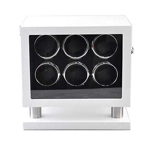 WXDP Enrollador de Reloj automático,Caja enrolladora de giratoria automática de Madera Motor silencioso de Lujo para 6 Relojes de Pulsera con Control remot