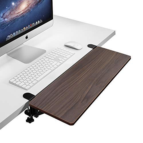 Vaydeer Walnut Wooden Desk Extender Diseño Ergonómico Amplio Espacio Estructura Plegable Bandeja de Teclado Pinza Reposabrazos Reposabrazos para Escritorio