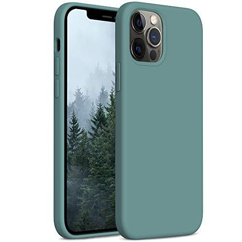 YATWIN Compatibile con iPhone 12 Cover 6,1'', Compatibile con iPhone 12 PRO Cover Silicone Liquido, Protezione Completa del Corpo con Fodera in Microfibra, Verde Pino