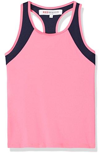 Amazon-Marke: RED WAGON Mädchen Sport-Top aus Mesh, Rosa (Azalea/Navy), 116, Label:6 Years