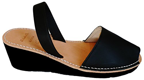 Avarcas menorquínas con tacón/cuña de 4,8 cm, Abarcas, Albarcas, Sandalias … (40, Negro Box)