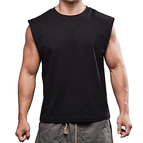 KKSY Camiseta Sin Mangas Informal para Hombre, Camiseta de Moda Deportiva, Chaleco de Secado Rápido, Ropa, Camiseta Sin Mangas de Culturismo,Black,L