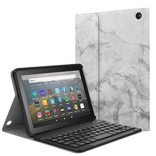 MoKo Keyboard Case Fits All-New Kindle Fire HD 8 Tablet and Fire HD 8 Plus Tablet (10th Generation, 2020 Release) Case, Wireless Keyboard Cover Shell with Auto Wake/Sleep - White Marble