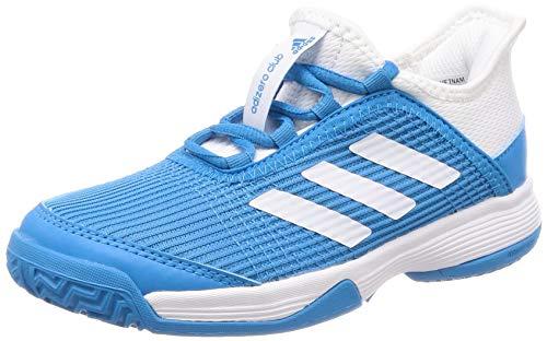 adidas Adizero Club K, Zapatillas de Tenis Unisex Niños, Azul (Shock Cyan/FTWR White/FTWR White Shock Cyan/FTWR White/FTWR White), 38 2/3 EU