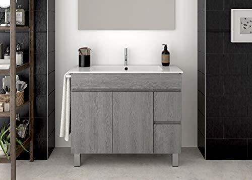 Doccia Mobile da Bagno con LAVABO E Porta Asciugamano Moderno Varie Misure E Colori (80CM, Grigio)