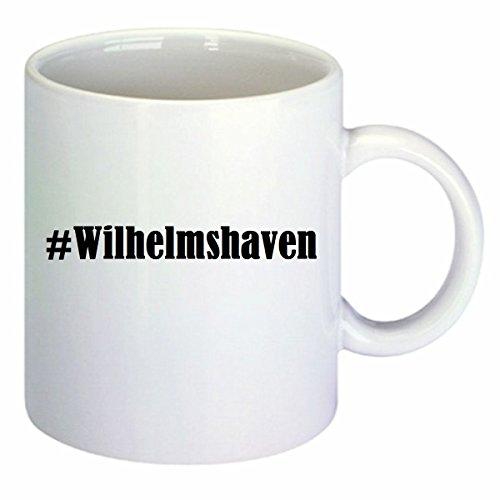 Kaffeetasse #Wilhelmshaven Hashtag Raute Keramik Höhe 9,5cm ? 8cm in Weiß