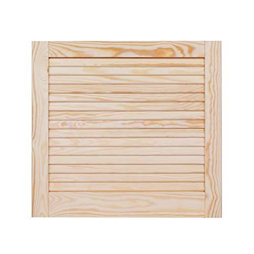 Lamellentür Holztür natur 462 x 494 x 21 mm mit geschlossenen Lamellen für Regale, Schränke, Möbel | Kiefer Holz unbehandelt
