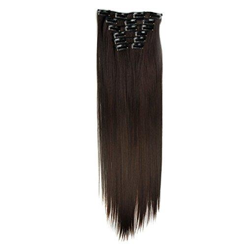 """Posional 24"""" Extension Cheveux a Clip Cheveux - Rajout Cheveux 100% Remy Hair Double Weft Maxi Volume Extensions Cheveux Clips Lisse Clip in Hair Extensions - 6 Bandes - 60cm(24 Pouces)"""