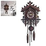 Kikier Reloj de pared de cuco de madera, reloj de pared de cuco de madera antiguo...