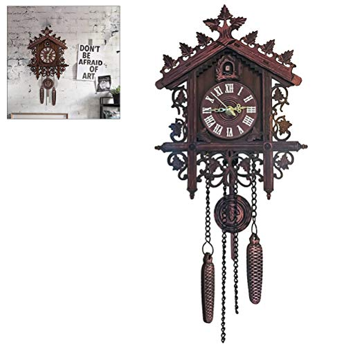 Kikier Reloj de pared de cuco de madera, reloj de pared de cuco de madera antiguo para colgar reloj hecho a mano para la decoración familiar del restaurante