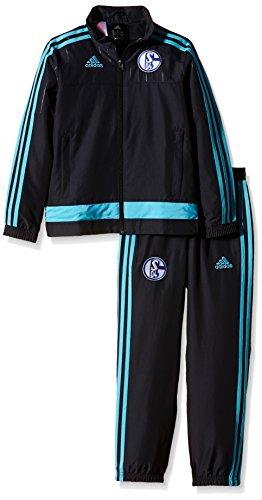 adidas Jungen Trainingsanzug Anzug FC Schalke 04 Presentation, Night Grey/Super Cyan S12, 164