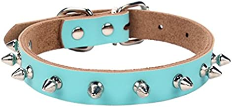 AOLOVE Basic Classic Adjustable Genuine Cow Leather Pet Collars for Cats Puppy Dogs (Small, Blue-Spiked Rivet)