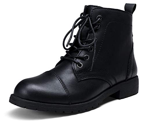 VEPOSE Women's Leather Ankle Booties Lace Black Combat Boots for Women with Inner Zipper Size 8.5(CJY910L Black 08.5)