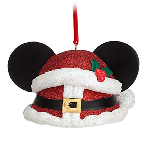 Disney Parks Exclusive Mickey Mouse Ear Hat Santa Claus Red Glitter Christmas Ornament