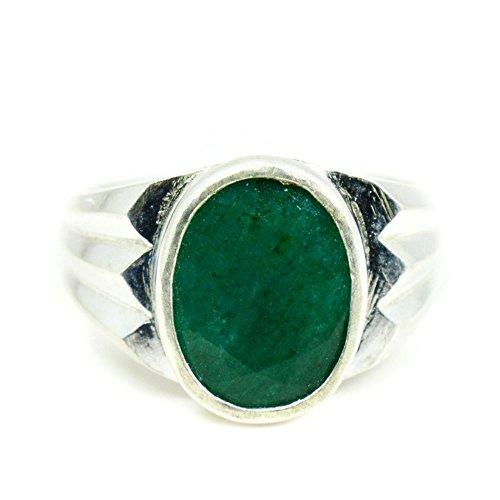 55Carat Hombre plata de ley ovalada Green Emerald