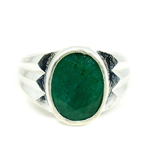 55Carat Herren - Sterling-Silber 925 Oval Green Smaragd