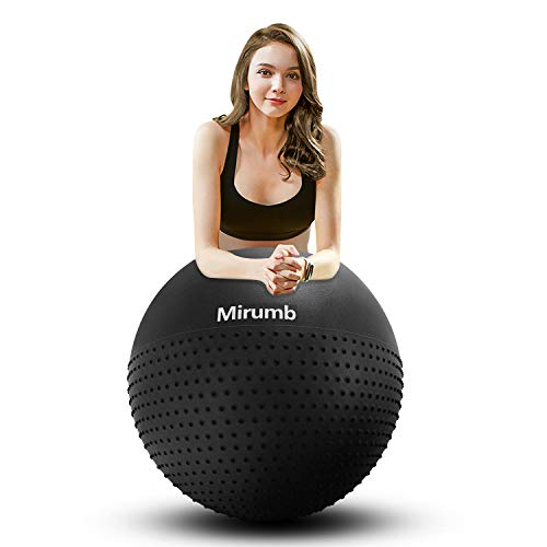 Mirumb Gymnastikball, Anti Burst Gymnastikball 75CM 65CM 55CM mit Pumpe Pilates Ball Sitzball für Yoga, Schwangerschaft, Büro, Balance Stuhl, Fitness (schwarz-1, 65 cm)