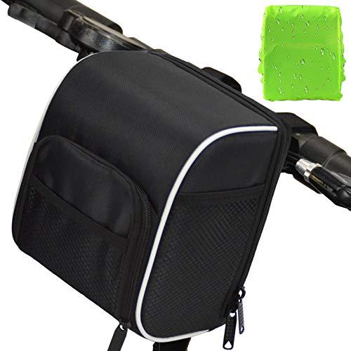 BAIGIO Bolsa de Manillar de Bicicleta, Cesta de Almacenamiento de Marco Frontal de Bicicleta Impermeable con Patrones Reflectantes y Soporte para teléfono para Ciclismo, 3L (Negro)