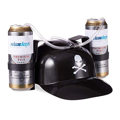Relaxdays Drinkhelm piraat, helm met slang, voor 2 blikjes bier, carnaval plezier partyartikelen, doodskop bierhelm, zwart