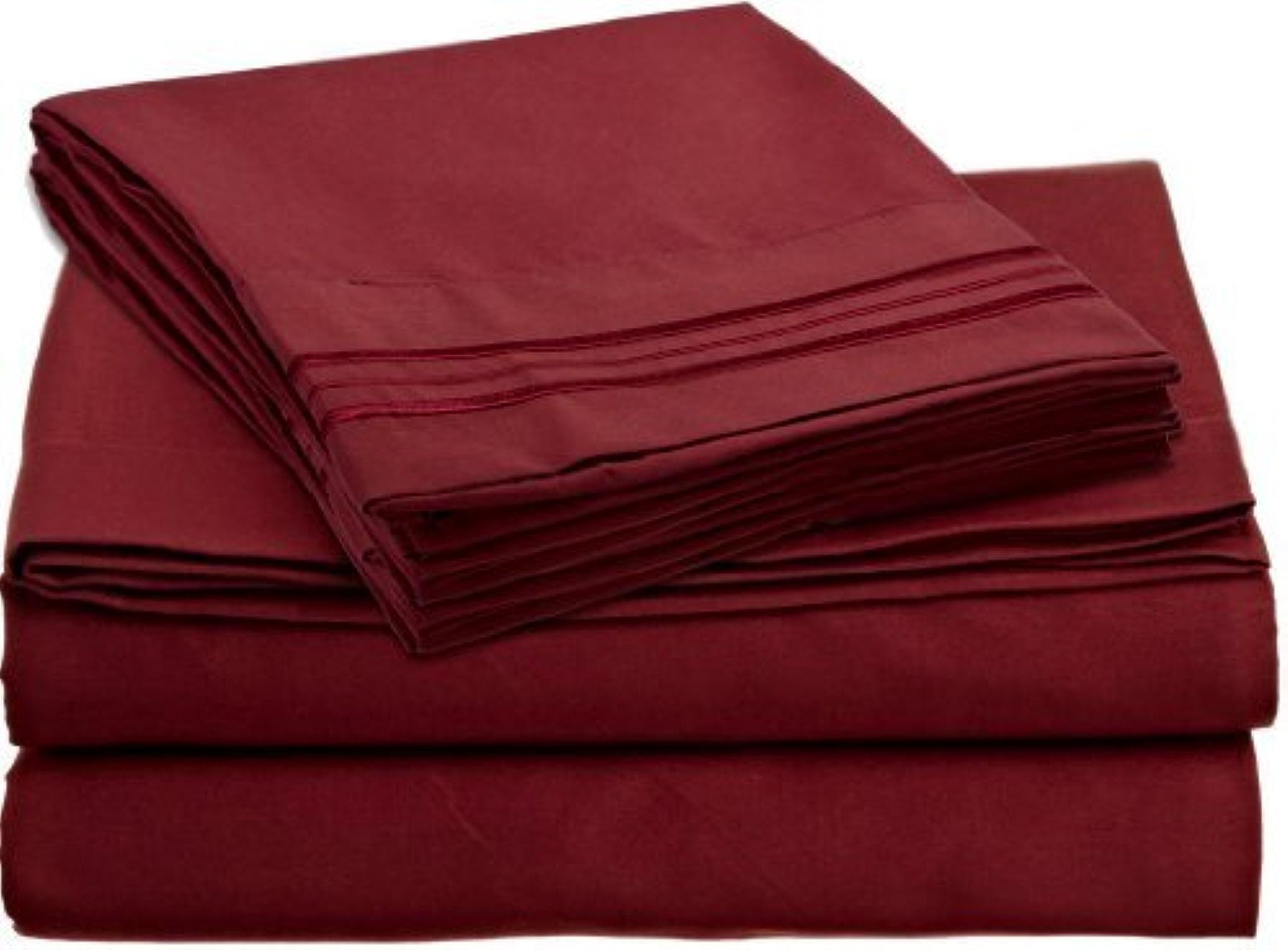 Dreamz Bedding Simple Ply- 400Fils en Coton égypcravaten de lit 53,3cm Poche Profonde suppléHommestaire Euro King, Bordeaux Rouge Solide, 400Fils Parure de lit de 100% Coton
