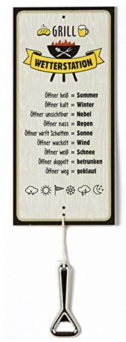 G.H. Wetterstein, Wetterstation als Aluschild, Modell Grill mit Öffner, Material Metall, Maße Schild 30 x 14 cm