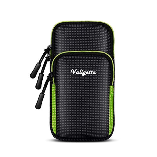 """Valigetta Funda para móviles Universal de 6,5"""" con Bolsillo Exterior - Estuche Impermeable con Cierre para móvil – Ciclismo y Otros Deportes (Verde)"""