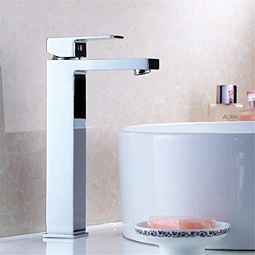 YAWEDA Koperkraan, badkamerkraan, badkamertafel, badkamerkabinet, wastafelkraan, vierkante koudwatermixer, kraan, met één handgreep, verchroomd polijsten