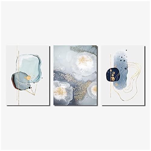 DJFBH-Cuadros modernos 3 piezas 40x60cm Sin marco Póster abstracto moderno Acuarela Decoración...