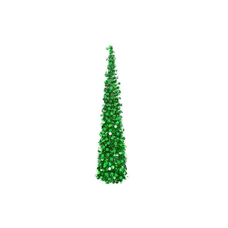 silk flower arrangements hohotime tinsel christmas tree 5ft, detachable artificial christmas pencil tree, slim pop-up tree for christmas home decor, christmas party decorations