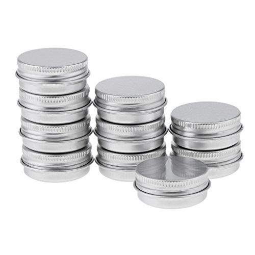 dailymall 5 Pièces Pots en Aluminium Conteneurs Cosmétiques Vide Pots de Voyage pour Crème - argent, 15 ml 10pcs