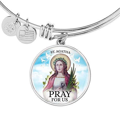 Express Your Love Gifts Catholic Saint Agatha Circle Bangle - Pulsera de acero inoxidable y oro de 18 quilates