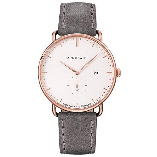 PAUL HEWITT Armbanduhr Grand Atlantic Line White Sand - Damen Uhr (Rosegold), Damenuhr mit Lederarmband in Grau, weißes Ziffernblatt