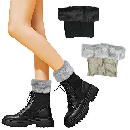 LANMOK 2 Paare Damen Fell Stulpen Deko Socken Winter Beinwärmer Stiefelstulpen Knie Warm Stricken Beinstulpen Häkeln Kurze Stulpen Socken (Weiß und Khaki)