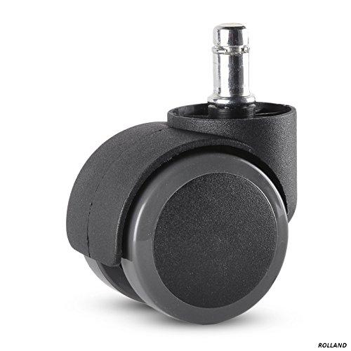 Rolland Office Chair Caster Wheel for Hardwood Floor - Stem Diameter: 11mm, Stem Length: 22mm - 5 Unit/Pack (Black)