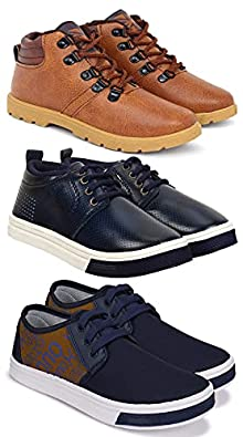 Camfoot Kids & Boys (9204-1101-1651) Multicolor Casual Stylish Sports Shoes (Set of 3 Pair)
