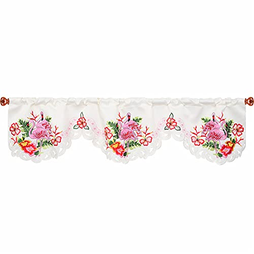 Simhomsen Embroidered Flamingo, Tropical Palm Leaves and Hibiscus Flower Kitchen Window Curtain Valance for Hawaiian Luau Party, W 59 × L 15 Inches