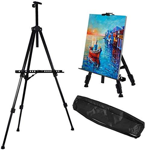Caballete de Pintura Regulable Aleación de Aluminio Ligero Caballete Plegable trípode telescópico de Pintura, póster, etc. Multifunción Con bolsa de transporte...