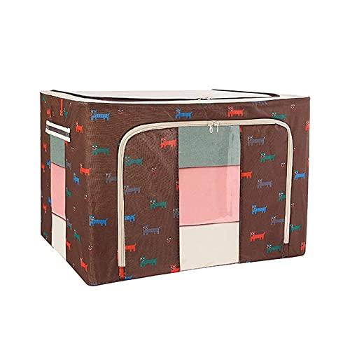 qwertyuiop Caja de almacenamiento para organizadores con mango duradero y transparente para ventanas, organizador de ropa grande, armario plegable