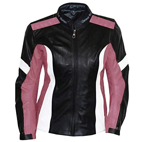 German Wear Damen Lederjacke Motorradjacke, Schwarz/Rosa/Weiß, XL
