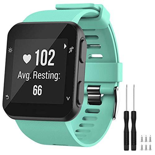 GVFM - Correa de repuesto compatible con Garmin Forerunner 35, de silicona suave para reloj inteligente, ajuste de muñeca de 130 a 230mm, Verde azulado (hebilla negra).