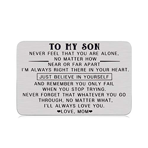 Graduation Birthday Gifts for Son Kid from Mon Dad Wallet Insert Card for Teen Boys Inspirational Coming-of-age Valentines Gift for Stepson Son in Law Christmas Anniversary for Men Him Adult Military