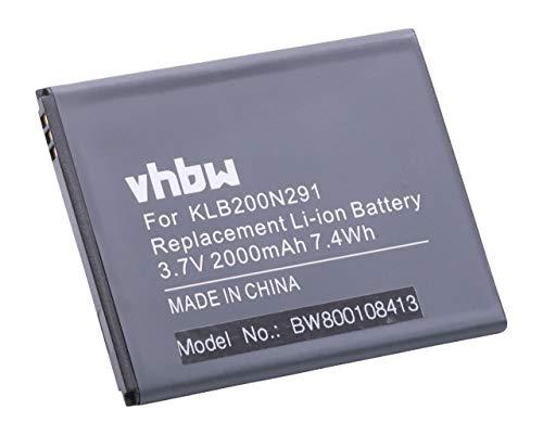 vhbw Li-Ion Akku 2000mAh (3.7V) für Handy Smartphone Telefon Kazam Trooper 2 X5.0, Trooper2 5.0 wie KLB200N291.