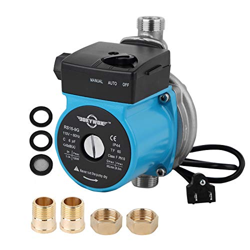 BOKYWOX 110V Food Grade Automatic Domestic Booster Pump NPT 3/4'' 120W Circulate Boost Pressure Water Pump for Solar Heater/Faucet Stainless Steel 304(RS15-9 SB)