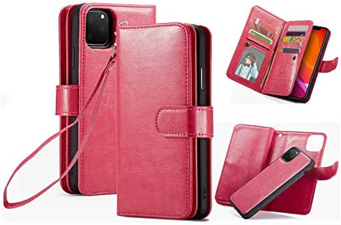 iPhone 11 Wallet Case,HYSJY PU Leather Detachable Magnetic Women with 9 Card Slots Wrist Strap Removable Shockproof Slim Cover for iPhone 11 6.1 inch (9-Rose, iPhone 11)