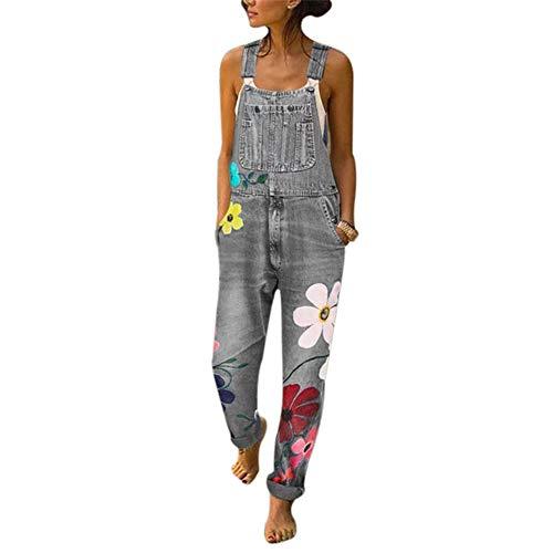 Vertvie Damen Denim Jeans Latzhose Langer Overall Blumen Jeansoptik Klasse Vintage Jeans Lang Lässig Baggy Boyfriend Stylisch Jumpsuit Hüftjeans S-3XL(XL, Grau)