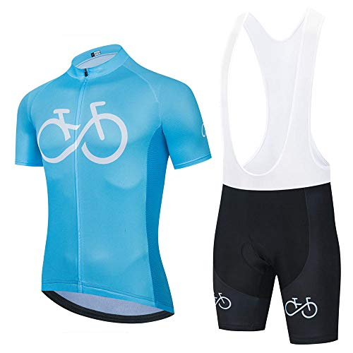 HXTSWGS Conjunto de Babero de Jersey de Ciclismo Ropa de Bicicleta Uniforme de MTB Ropa de Ciclismo de Secado rápido Ropa de Ciclismo Deportivo para Hombre-Verde 1_4XL