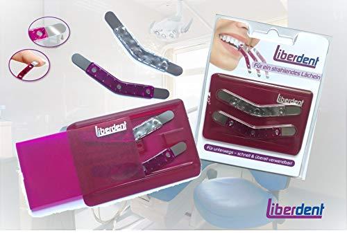 Liberdent Zahnzwischenraumreiniger für unterwegs. Variante mit 2 x Reinigern und praktischem Aufbewahrungsetui in lila im Scheckkartenformat.