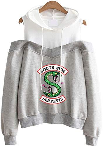 OLIPHEE Sudaderas con capuchacon Primavera Hombros Sin Tirantes de Riverdale para Mujer 5858hui-S