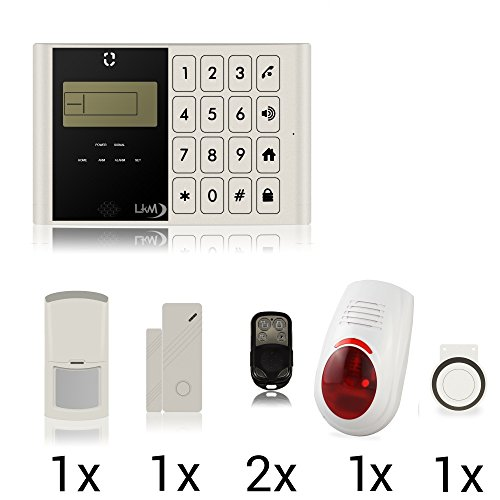 LKM Security ® Kit Alarma Antirrobo sin Hilos wireess Casa Negocio Garaje Furgoneta con combinador gsm Sirena inalámbrico